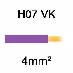 fil de câblage en cuivre souple isolé PVC série H07VK 4mm² violet