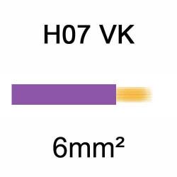 fil de câblage en cuivre souple isolé PVC série H07VK 6mm² violet