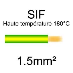 fil cuivre souple isolé silicone 1.5mm2 vert jaune