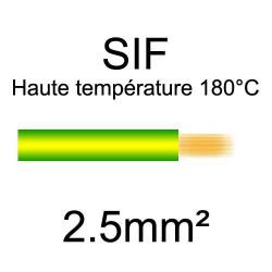 fil cuivre souple isolé silicone 2.5mm2 vert jaune