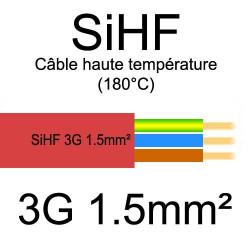 câble électrique cuivre souple isolé silicone SIHF 3 conducteurs 1.5mm²