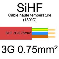 câble électrique cuivre souple isolé silicone SIHF 3 conducteurs 0.75mm²
