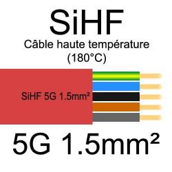 câble électrique cuivre souple isolé silicone SIHF 5 conducteurs 1.5mm²