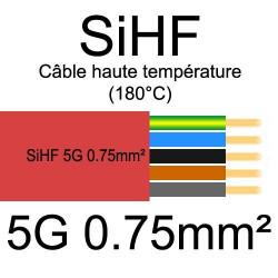 câble électrique cuivre souple isolé silicone SIHF 5 conducteurs 0.75mm²