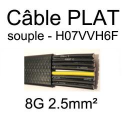 câble électrique plat noir souple série H07VVH6F 8 conducteurs 2.5mm²