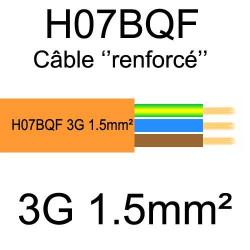 câble cuivre souple isolé PUR Polyuréthane 3 conducteurs 1.5mm²