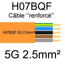 câble cuivre souple isolé PUR Polyuréthane 5 conducteurs 2.5mm²