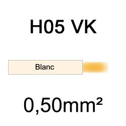 fil de câblage cuivre souple isolé PVC H05VK 0.5mm² ivoire blanc