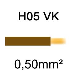 fil de câblage cuivre souple isolé PVC H05VK 0.5mm² marron