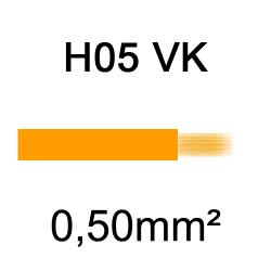 fil de câblage cuivre souple isolé PVC H05VK 0.5mm² orange