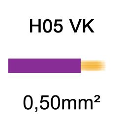 fil de câblage cuivre souple isolé PVC H05VK 0.5mm² violet