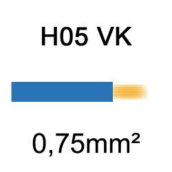fil de câblage cuivre souple isolé PVC H05VK 0.75mm² bleu