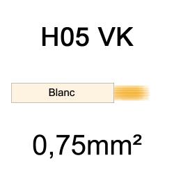 fil de câblage cuivre souple isolé PVC H05VK 0.75mm² ivoire blanc