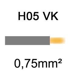 fil de câblage cuivre souple isolé PVC H05VK 0.75mm² gris