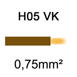 fil de câblage cuivre souple isolé PVC H05VK 0.75mm² marron