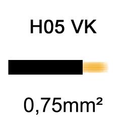 fil de câblage cuivre souple isolé PVC H05VK 0.75mm² noir