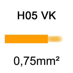 fil de câblage cuivre souple isolé PVC H05VK 0.75mm² orange