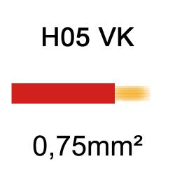 fil de câblage cuivre souple isolé PVC H05VK 0.75mm² rouge