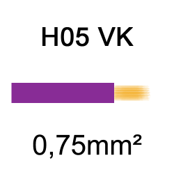 fil de câblage cuivre souple isolé PVC H05VK 0.75mm² violet