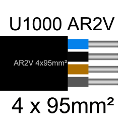 câble électrique aluminimum AR2V 4 conducteurs section 95mm²
