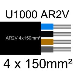câble électrique aluminimum AR2V 4 conducteurs section 150mm²