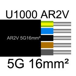 câble électrique aluminimum AR2V 5 conducteurs section 16mm²