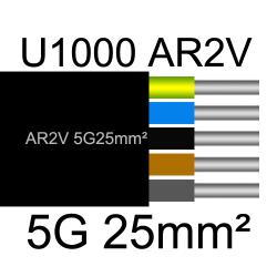 câble électrique aluminimum AR2V 5 conducteurs section 25mm²