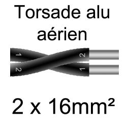 câble alu torsade pose en aérien 2x16mm²