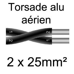 câble alu torsade pose en aérien 2x25mm²