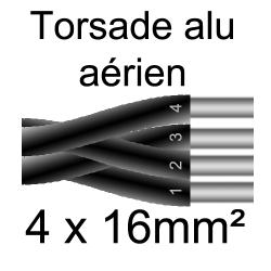 câble alu torsade pose en aérien 4x16mm²