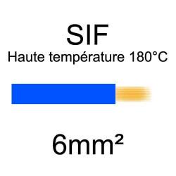 fil cuivre souple isolé silicone 6mm2 bleu